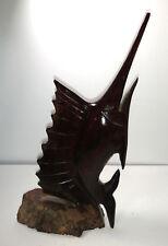 "Vintage Brown Wood Hand Carved Swordfish Sport Fish Figure Decor ~ 9 1/4"" Tall"