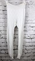 Vintage Escapade Formaid White Cotton Long Underwear Bottoms Eyelet Design M/L
