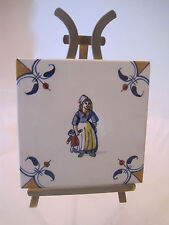 SIGNED VTG ROYAL DELFT DE PORCELEYNE FLES PORCELAIN TILE GIRL LADY HOLDING DOLL