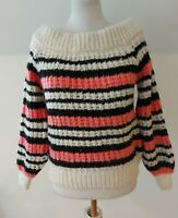 River Island Women's Scoop Next Knit Black Pink Long Sleeve Jumper Size 10