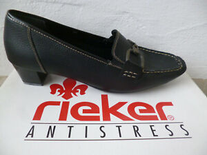 Rieker Slipper Shoes Ballerina Real Leather Court Shoes Black New