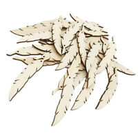 50pcs Unfinished Wood Feathers Shape Wooden Pieces with Hole for DIY Craft