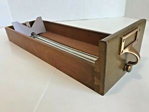 Vintage Library Card Catalog File Cabinet Drawer Maple Wood Brass Pull & Window