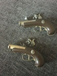 VINTAGE MINIATURE cisaro Italian TOY cap guns(pair)