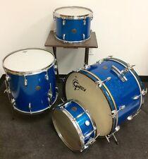 """Vintage Gretsch Drum Set - """"Blue Glass Glitter"""" - Made in USA"""