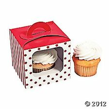 NEW RED AND WHITE   POLKA DOT AND STRIPE CUPCAKE BOXES WITH INSERTS (12)