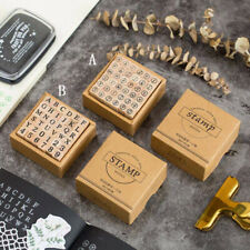 36pcs DIY Number Alphabet Letter Wood Rubber Stamp Teaching Diary Decor SK