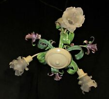 VTG ITALIAN TOLE HANGING LILY OF THE VALLEY CHANDELIER CEILING FIXTURE 50's