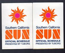 2 1975 Southern California Sun Pocket Schedules WFL