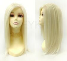 "Silk Lace Front Wig 7""x4"" Wide Deep Free Part Platinum Blonde Long Straight"