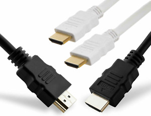 BLACK AND WHITE HDMI CABLE 1.4V GOLD PLATED COPPER UK