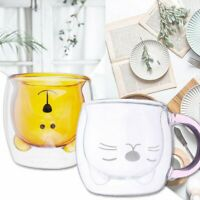 Cat Bear Glass Cup Double Wall Clear Tea Coffee Milk Drink Mug Container Decor