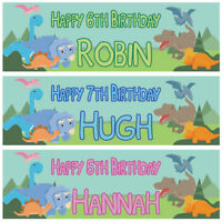 2 personalised birthday banner Dinosaur children kids party poster decoration
