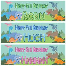 2 personalised birthday banner Dinosaur children kids party poster decoration