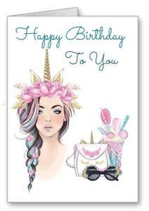 Unicorn Birthday Card Girl Teenager Stunning All Cards 3 for 2