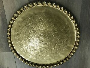 """Vintage Huge India Hand Chased Brass Tray, 24"""" Diameter, 1 1/8"""" High"""