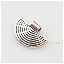 5Pcs Tibetan Silver Tone Semi-Circle Charms Pendants 17.5x25mm