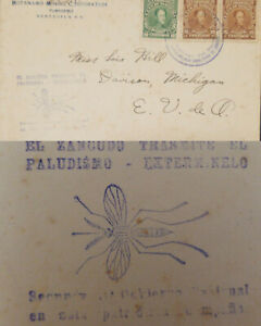 J) 1935 CIRCA VENEZUELA, ANTI MALARIA CACHET COVER FRANKED WITH 1924 GREEN AND 2