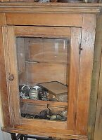 ANTIQUE PRIMITIVE HAND MADE WOOD & GLASS DISPLAY CABINET