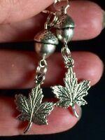 Maple Leaf Charm Dangle Earrings With  Acorn Charms
