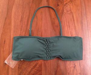 Ann Taylor LOFT Women Emerald Green Macrame Lace Halter Tie Swim Bikini Top XL