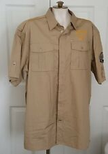 Coogi Australia Button Front Military Style Tan/Beige Shirt 2X Large
