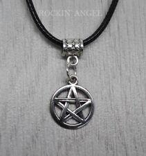 Ladies Mens Gift Pagan Wiccan Antique Silver Plt Pentagram Pendant Necklace