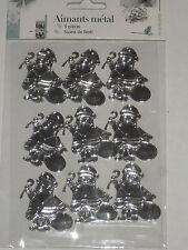 9 magnets père noël en métal argenté (hauteur:4cm)