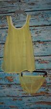 Vintage Nightie And Panties Yellow Sheer Unbranded Homemade? See Measurements.