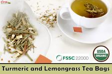 Turmeric and Lemongrass Tea Bags 100% Natural Organic From Ceylon (Sri Lankan)
