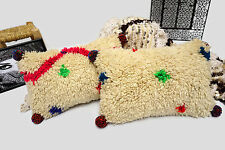 2 Colorful Bohemian Beni Ourain Pom Pom Pillow Cover Moroccan Handwoven Rug