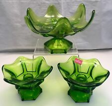 Vintage VIKING GLASS Compote & Pair Green Pedestal Footed Candle Holders Set MCM