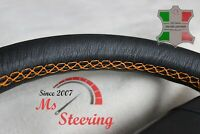 FOR FORD FREESTYLE 05-07 BLACK LEATHER STEERING WHEEL COVER, ORANGE STIT
