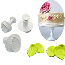 3Pcs Plastic Leaf Shaped Plunger Cookie Cutter Fondant Sugarcreaf Clay Mold Tool