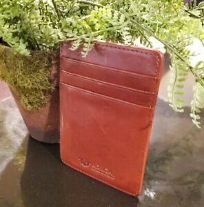 Bosca Front Pocket Wallet Brown Leather Money Clip Card Holder
