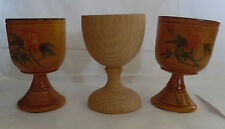 Vintage Set of 3 Wooden Carved Egg Cups Painted Spain Wood Collectible