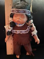 Goldenval Porcelain Native American Indian Sleeping Baby Doll With Braids 1/2000