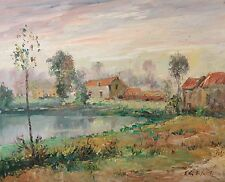 Beautiful Original Impressionist Oil Painting, Home on Lake, Illegibly Signed!