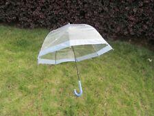 1Pc Clear Wind Water Proof Umbrella DOME Parasol Purple Border