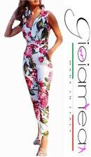Tuta Intera Fiori Donna Fantasia Floreale Jumpsuit Overall Pantalone Lungo Sexy