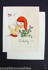 Unused 1946 Eva Harta Xmas Greeting Card Cute Angel Picking Holly. Ars Sacra