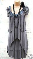 SIZE 8 20'S CHARLESTON FLAPPER GATSBY STYLE DRESS BEADED TIERED # US 4 EU 36