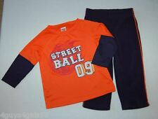 Fleece Navy Pants & L/S Knit Shirt Orange Basketball Toddler Boys 12 mo