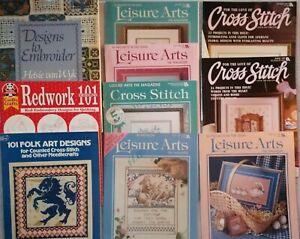 EMBROIDERY, CROSS STITCH PATTERN BOOK LOT (10) ~ LEISURE ARTS, REDWORK, FOLK ART