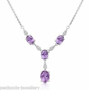 Sterling Silver Amethyst and CZ Necklace Gift Boxed 7.7g Wedding Hallmarked
