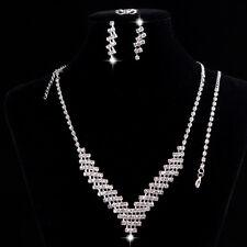 Bling Silver Rhinestones Necklace, Bracelet, Earrings, Ring Party Jewelry Set