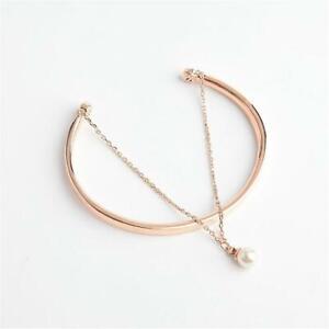 Henri Bendel Luxe Chic Pearl Duo Cuff Bracelet Rose Gold