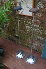 Pair Large Art Deco Chrome Plated Milliners Shop Display Adjustable Hat Stands