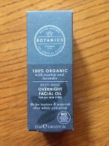 BOTANICS Organic Restoring Overnight Facial Oil .84 fl oz / 25 mL New In Box