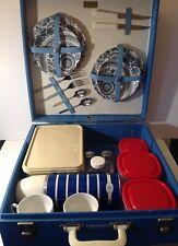 BREXTON BLUE 2 PIECE 1960's PICNIC HAMPER